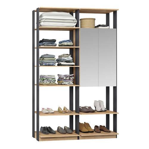 Guarda-Roupa Closet 2 Portas Espelhadas 9012 Carvalho/Espresso - Bentec