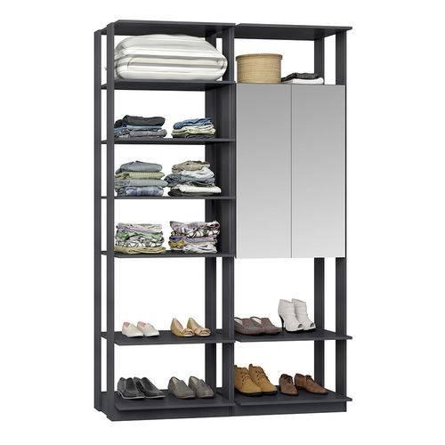 Guarda-Roupa Closet 2 Portas Espelhadas 9012 Espresso - Bentec