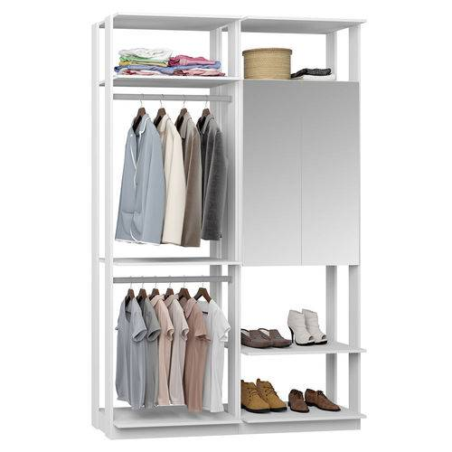Guarda-Roupa Closet 2 Portas Espelhadas 2 Cabid. 9015 Branco - Bentec
