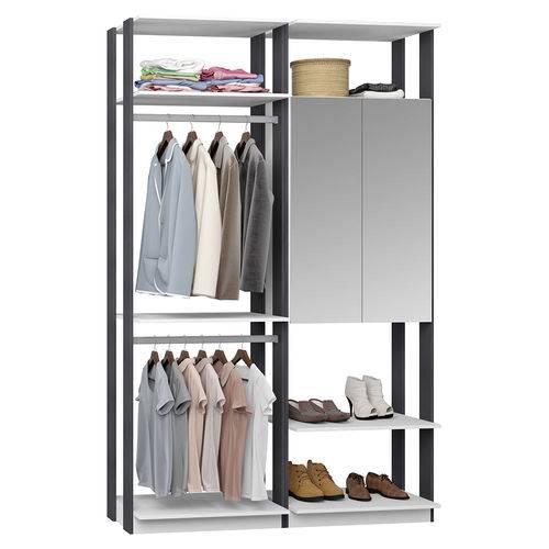 Guarda-Roupa Closet 2 Portas Espelhadas 2 Cabid. 9015 Branco/Espresso - Bentec