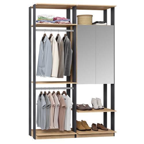 Guarda-Roupa Closet 2 Portas Espelhadas 2 Cabid. 9015 Carvalho/Espresso