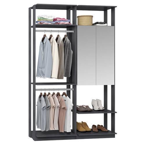 Guarda-Roupa Closet 2 Portas Espelhadas 2 Cabid. 9015 Espresso - Bentec