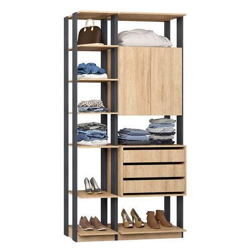Guarda-Roupa Closet 2 Portas 3 Gavetas 9006 Carvalho/Espresso - Bentec