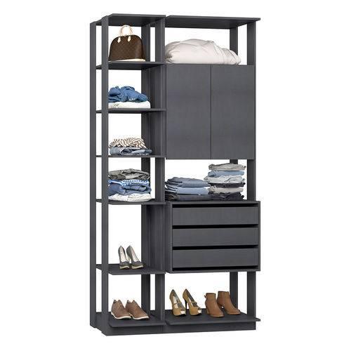 Guarda-Roupa Closet 2 Portas 3 Gavetas 9006 Espresso - Bentec