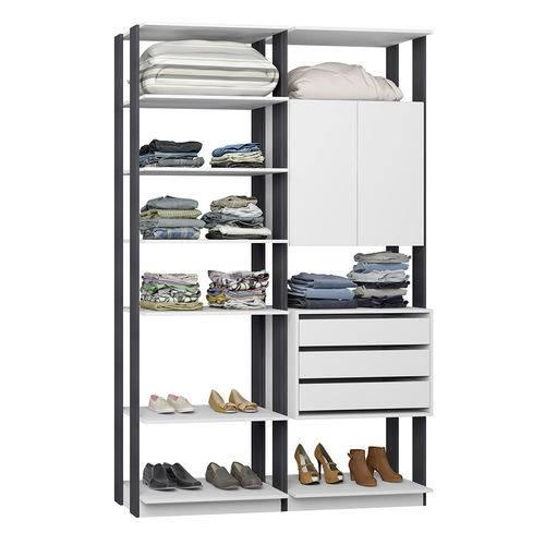 Guarda-Roupa Closet 2 Portas 3 Gavetas 9011 Branco/Espresso - Bentec
