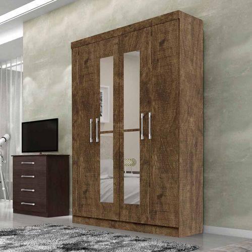Guarda-roupa Duo 4 Portas com Espelho Ypê - Leifer Móveis
