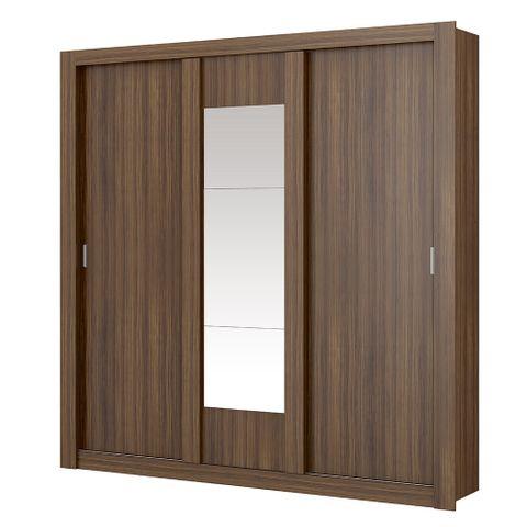 Guarda-Roupa Elus com Espelho - 3 Portas - Ébano ou Ébano com Atacama