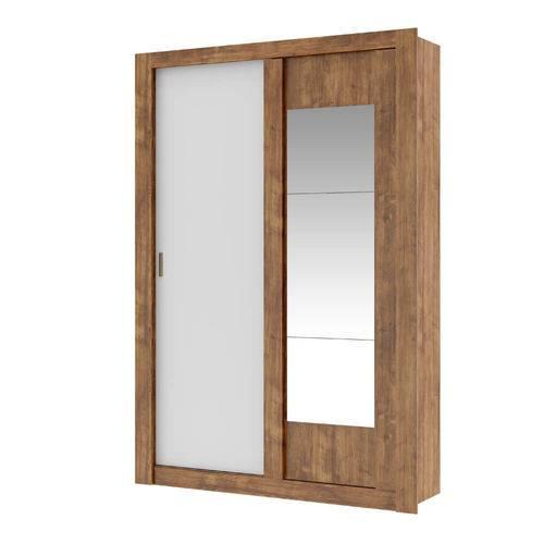 Guarda Roupa Elus 2 Portas de Correr e Espelho Carraro - Native/Branco