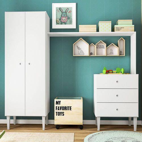 Guarda Roupa Infantil Multifuncional Meu Fofinho Compacto Branco - Art In Móveis