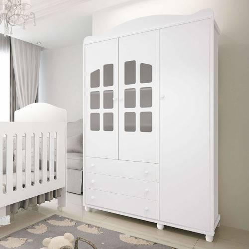 Guarda Roupa Infantil 3 Portas Branco Royalli - Móveis Fênix