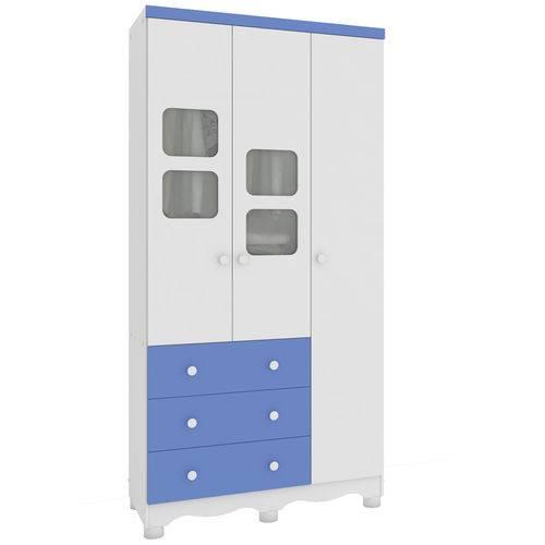 Guarda Roupa Infantil 3 Portas 3 Gavetas Uli Móveis Peroba Branco Brilho/Azul