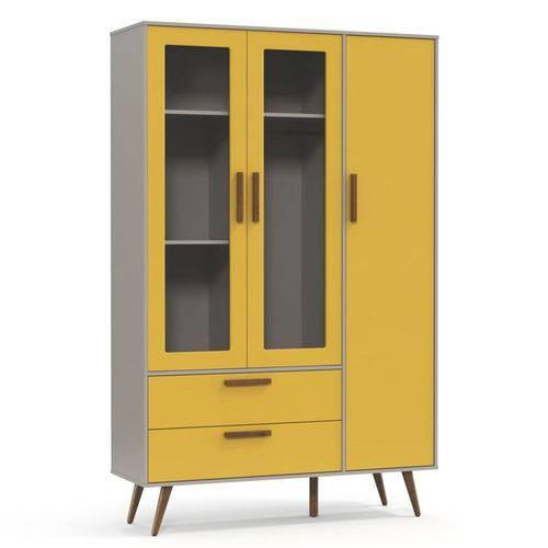 Guarda Roupa Infantil 3 Portas Retrô Glass - Cinza/Amarelo/Eco Wood