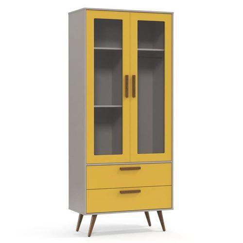 Guarda Roupa Infantil 2 Portas Retrô Glass - Cinza/Amarelo/Eco Wood