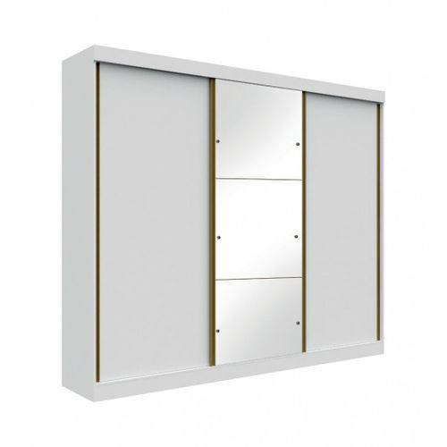 Guarda Roupa 3 Portas 4 Gavetas com Espelho San Marino Leifer - Branco - Móveis Bom de Preço