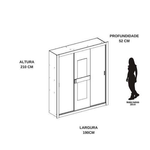 Guarda-roupa 3 Portas Carraro Vivacce 834 C/ Espelho Branco/native se