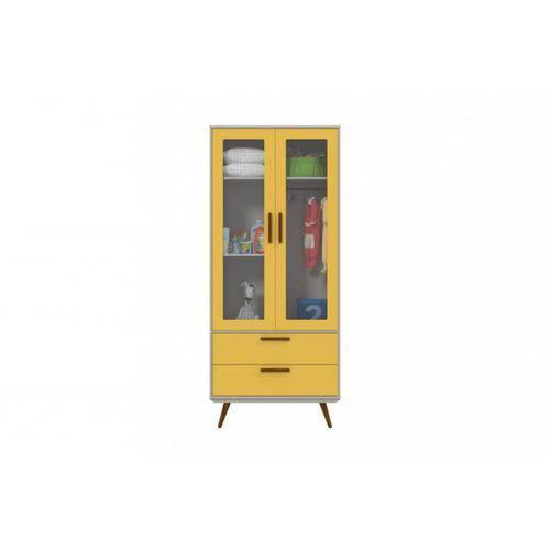 Guarda Roupa 2 Portas Retrô Glass Matic - Cinza/amarelo/eco Wood