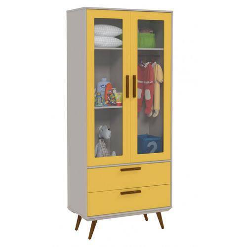 Guarda Roupa Retrô Glass 2 Portas Cinza com Amarelo e Eco Wood - Matic Móveis