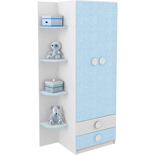 Guarda-Roupa / Roupeiro Infantil 2 Portas com 2 Gavetas Prateleiras Eternas Branco/Azul - Rodial