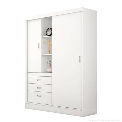 Guarda Roupa Slim 2 Portas 3 Gavetas Branco Rosa - Demobile