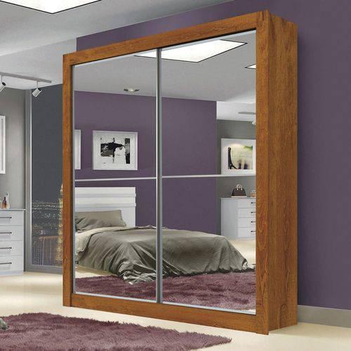 Guarda Roupa Solteiro 4 Espelhos 2 Portas de Correr Milan New Leifer Canela