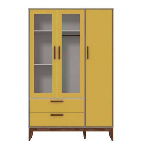 Guarda Roupa Solteiro 3 Portas Retrô Glass Matic Móveis Cinza/Amarelo/Eco Wood