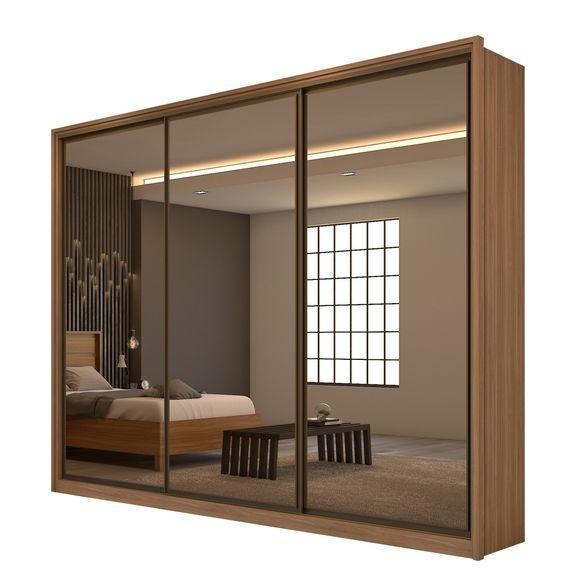 Guarda Roupa Spazio 3 Portas com 3 Espelhos - Carvalho Naturale