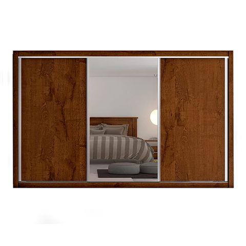 Guarda-Roupa Toronto - 3 Portas - com Espelho - 100% MDF - Braúna