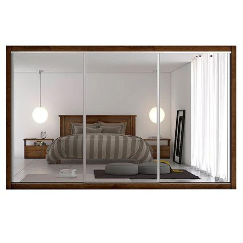 Guarda-Roupa Toronto - 3 Portas - com 3 Espelhos - 100% MDF - Braúna