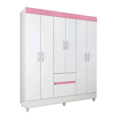 Guarda Roupas 6 Portas Soft Demóbile Branco/rosa Flex