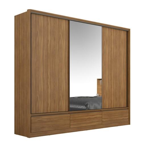 Guarda Roupas Casal Demartêz Lounge 3 Portas 7 Gavetas com Espelho Amendola Touch