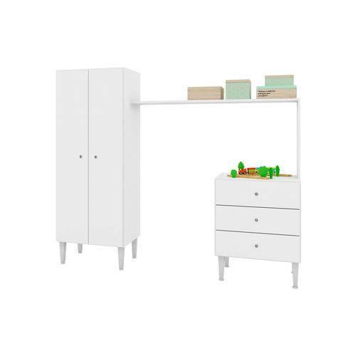 Guarda-Roupas Multifuncional Compacto Meu Fofinho Branco Art In Móveis