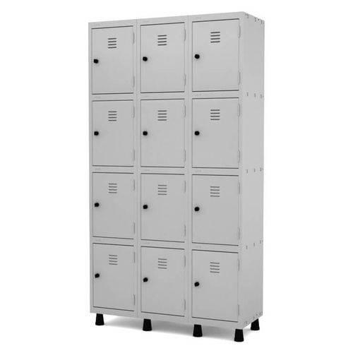 Guarda Volume Armário Roupeiro de Aço 12 Portas Pequenas - 1.93x1,03x0.40m - Pandin - Cinza - Mod. GRP/GRF 503-12