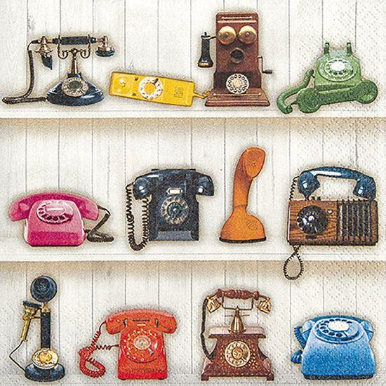 Guardanapo Decoupage Toke e Crie GUA211531 2 Unidades Telefones Retrô
