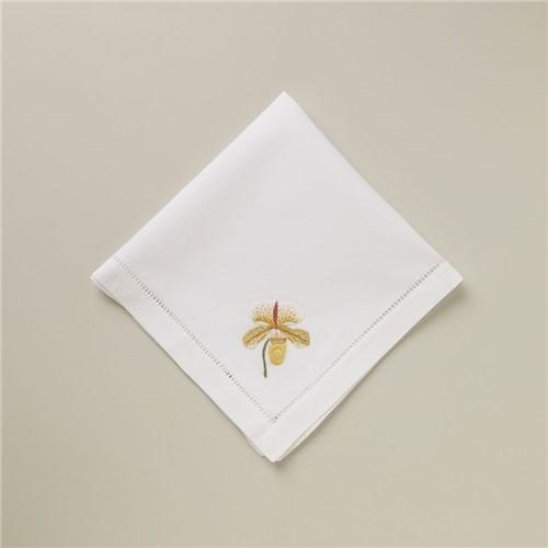 Guardanapo Orchid Yellow - Branco-amarelo - 40x40