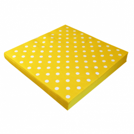 Guardanapo Papel Amarelo Poá Branco 20x21 Guardanapo de Papel Amarelo Poá Branco 20cmx21cm - 50 Unidades