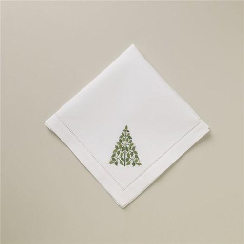 Guardanapo Piine Tree - Branco-verde - 40x40
