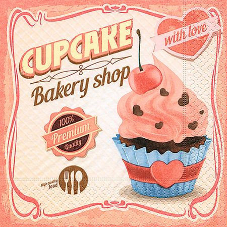 Guardanapo Toke e Crie Amor de Cupcake - 5 Unid
