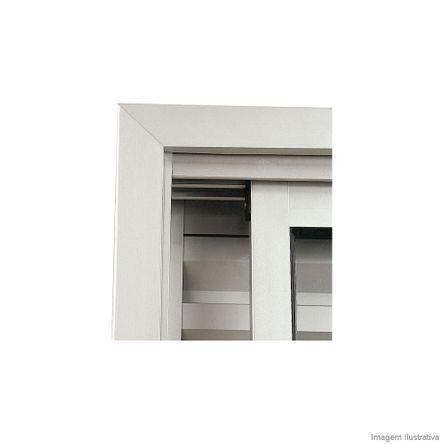 Guarnição para Porta de Correr 218x200cm Aluminium Branca Sasazaki