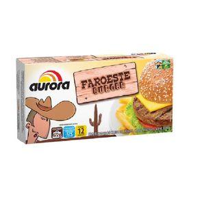 Hamburguer de Carne de Frango, Carne Bovina e Carne Suína Faroeste Burger Aurora 672g