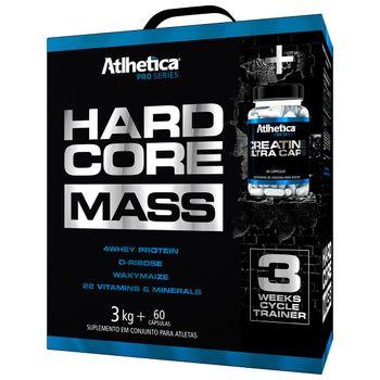 Hardcore Mass 3kg Baunilha + Creatine Ultra 60 Caps - Atlhetíca Nutrition