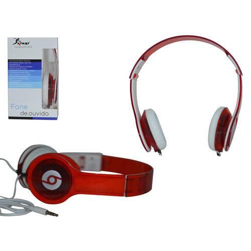 Headphone Knup Transparente 105Db Cabo 85CM Plug P2 Vermelho Kp-313A