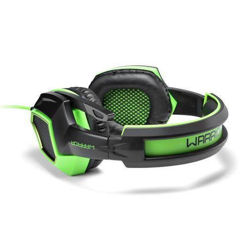 Headset Gamer Multilaser Usb Warrior 7.1 Preto e Verde - Ph224