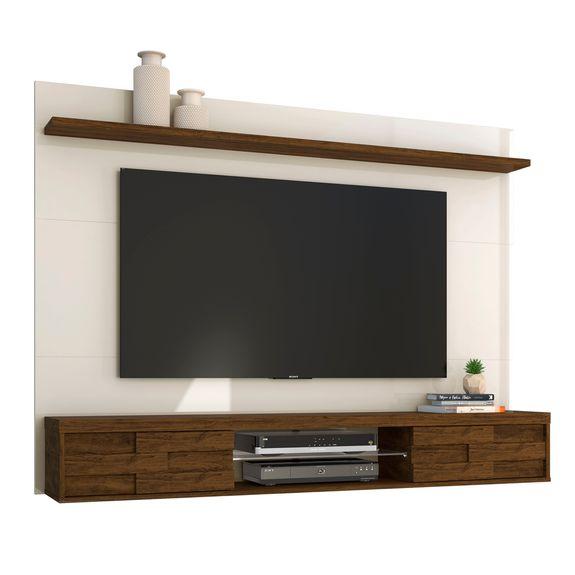 """Home Suspenso Cecília para TVs de Até 60"""" - Off White / Savana"""