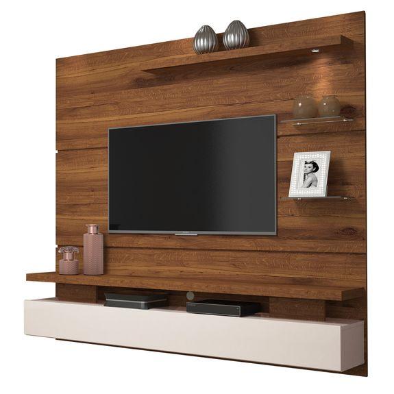 """Home Suspenso para TV Até 65"""" Greco - Rústico Terrara / Off White"""