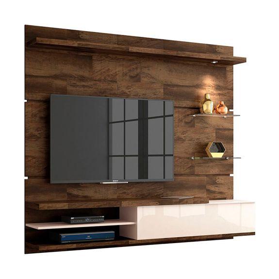 """Home Suspenso para TVs de Até 55"""" Destak - Deck / Off White"""