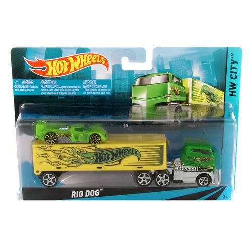 Hot Wheels Caminhão Transportador Rig Dog Amarelo - Mattel