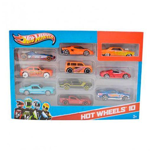 Hot Wheels Pacote de 10 Carros Sortidos Laranja - Mattel