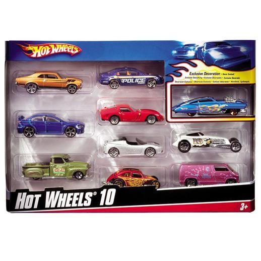 Hot Wheels Pacote Presente com 10 Carrinhos Sortidos - Mattel
