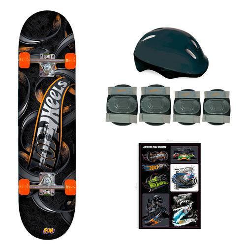 Hot Wheels Skate com Acessórios de Segurança Preto e Laranja - Fun Divirta-se