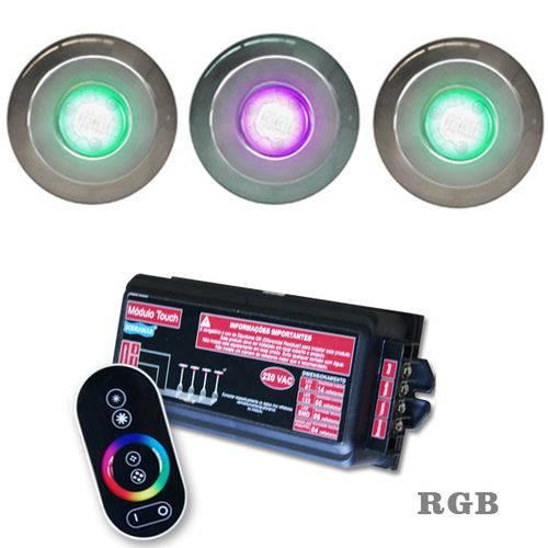 Iluminação Piscina Até 42m² com 3 Refletores Hiper Led Inox 9w + Módulo Touch - Sodramar